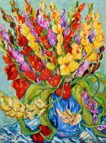 Gladiolas in Blue Pot 48x36 TS2014-3.JPG