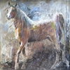 Shannon Ford Stallion Magic 79 X 79 D Acrylic on Canvas with Malachite Diamond Dust Pipestone Marble